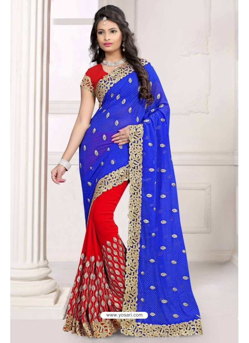 Exceptional Royal Blue Georgette Saree