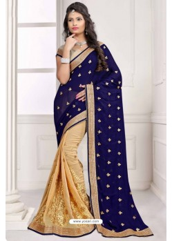 Deserving Navy Blue Saree