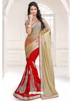 Fantastic Red Chiffon Saree