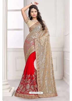 Beautiful Red Georgette Saree