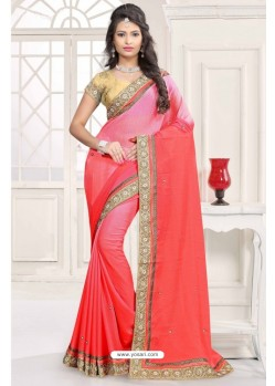 Beauteous Peach Chiffon Saree