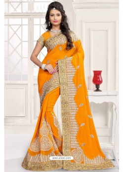 Eye Catching Yellow Georgette Saree