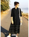 Black Cotton Dory Work Kurti