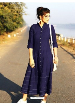 Blue Cotton Dory Work Kurti