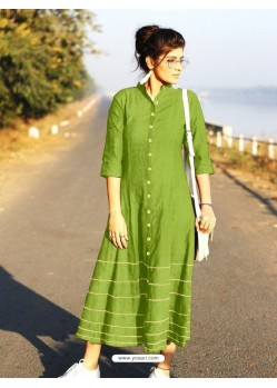 Green Cotton Dory Work Kurti