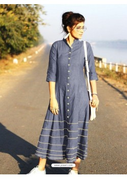 Grey Cotton Dory Work Kurti