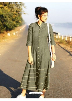 Olive Green Cotton Dory Work Kurti