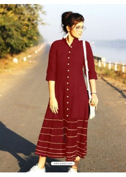 Wine Cotton Dory Work Kurti