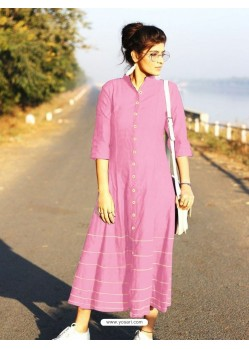 Pink Cotton Dory Work Kurti