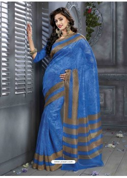 Blue Print Work Saree