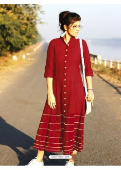 Red Cotton Dory Work Kurti