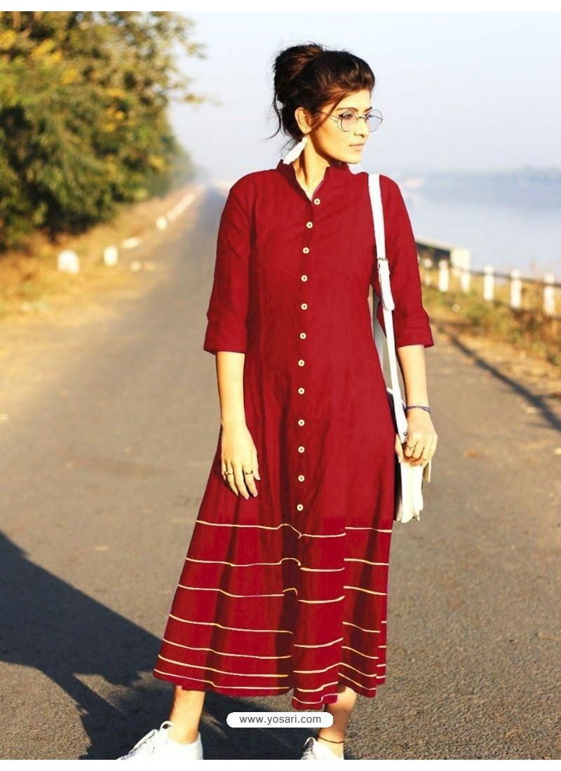 Red Cotton Dory Work Kurti