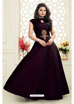 Fashionistic Purple Twill Taffeta Gown