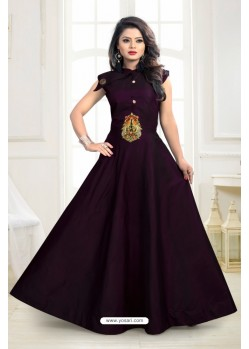 Beauteous Purple Twill Taffeta Gown