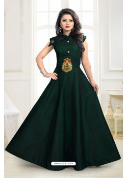Girlish Green Twill Taffeta Gown