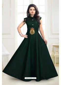 Girlish Green Twill Taffeta Gown
