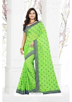 Astonishing Green Marble Chiffon Saree