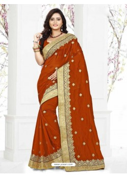 Adorable Rust Georgette Silk Saree