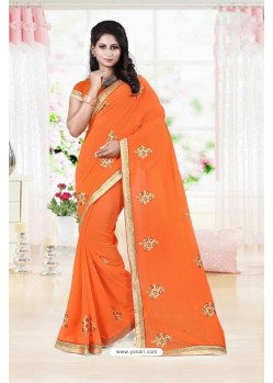 Awesome Orange Faux Georgette Saree