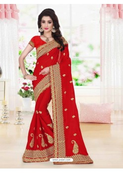 Asthetic Red Faux Georgette Saree