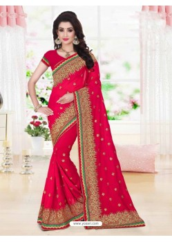 Fashionable Fuchsia Georgette Saree