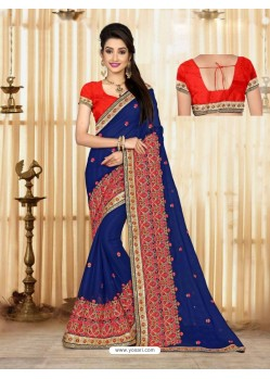 Astounding Blue Faux Georgette Saree