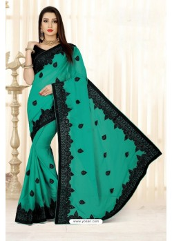 Sensational Aqua Mint Faux Silk Saree
