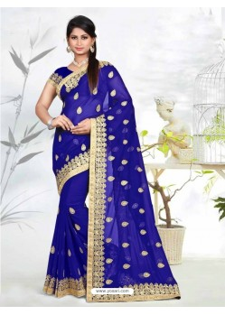 Fabulous Royal Blue Faux Georgette Saree