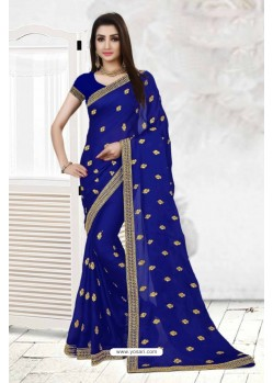 Admirable Blue Faux Georgette Saree