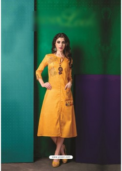 Yellow Cotton Embroidered Kurti