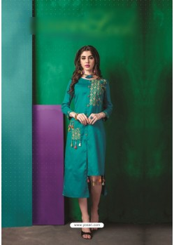 Turquoise Cotton Embroidered Kurti