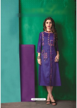 Blue Cotton Embroidered Kurti