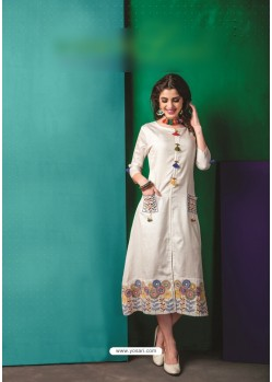 Off White Cotton Embroidered Kurti