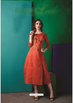 Rust Cotton Embroidered Kurti