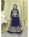 Blue Mulberry Embroidered Floor Length Suit