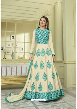 Cream Faux Georgette Embroidered Floor Length Suit