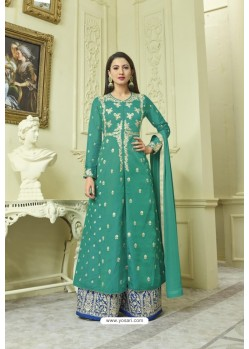 Teal Faux Georgette Embroidered Floor Length Suit