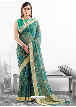 Teal Viscose Party Wear Saree
