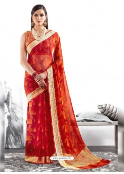 Crimson Viscose Party Wear Saree