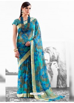 Blue Viscose Saree