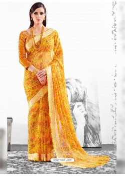 Yellow Viscose Party Wear Saree