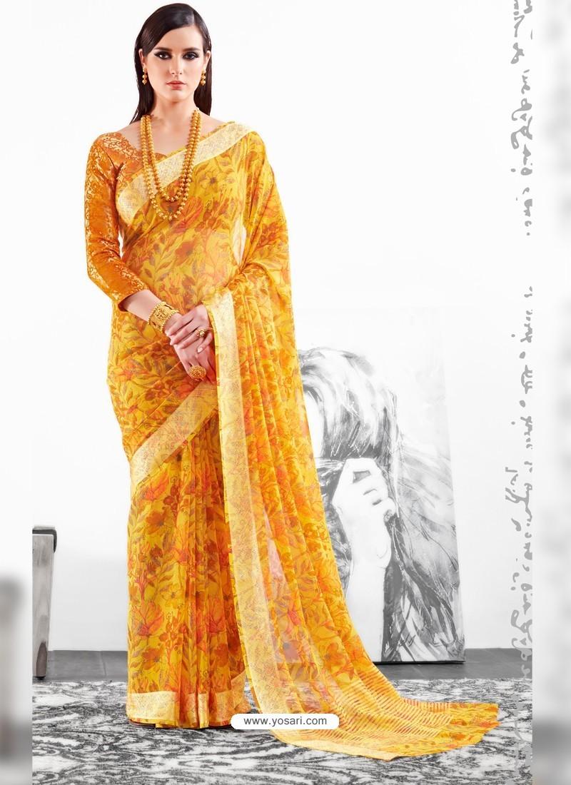 Yellow Viscose Party Wear Saree