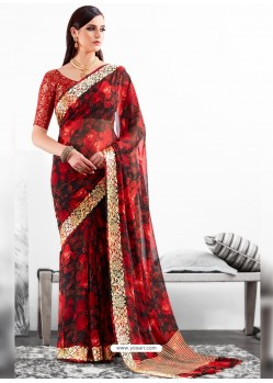 Red Viscose Party Wear Saree