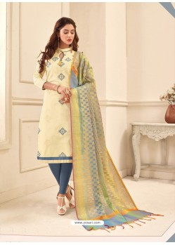 Cream Cotton Satin Thread Embroidered Suit