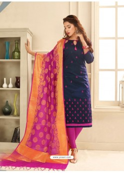 Navy Blue Cotton Satin Thread Embroidered Suit