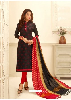 Black Cotton Satin Thread Embroidered Suit