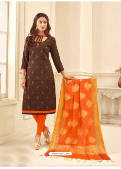 Brown Cotton Satin Thread Embroidered Suit