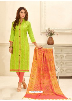 Parrot Green Cotton Satin Thread Embroidered Suit