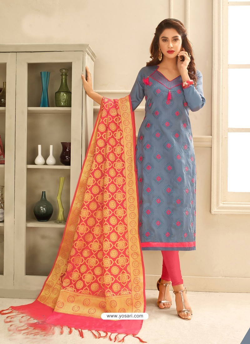 Grey Cotton Satin Thread Embroidered Suit