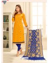 Yellow Cotton Satin Thread Embroidered Suit